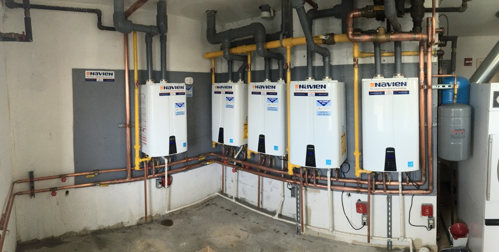 Navien NPE tankless water heaters, commercial hotel installation